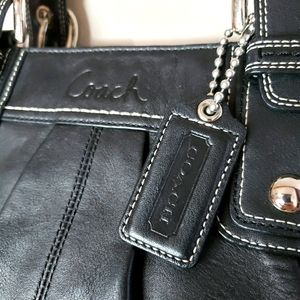 Coach Black Leather Shoulder Bag with Dust Cover